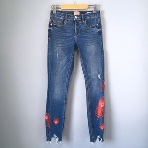 Peacock Feather Embroidered Ankle Crop Jeans Only
